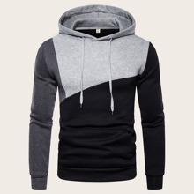 Men Cut And Sew Drawstring Hooded Sweatshirt