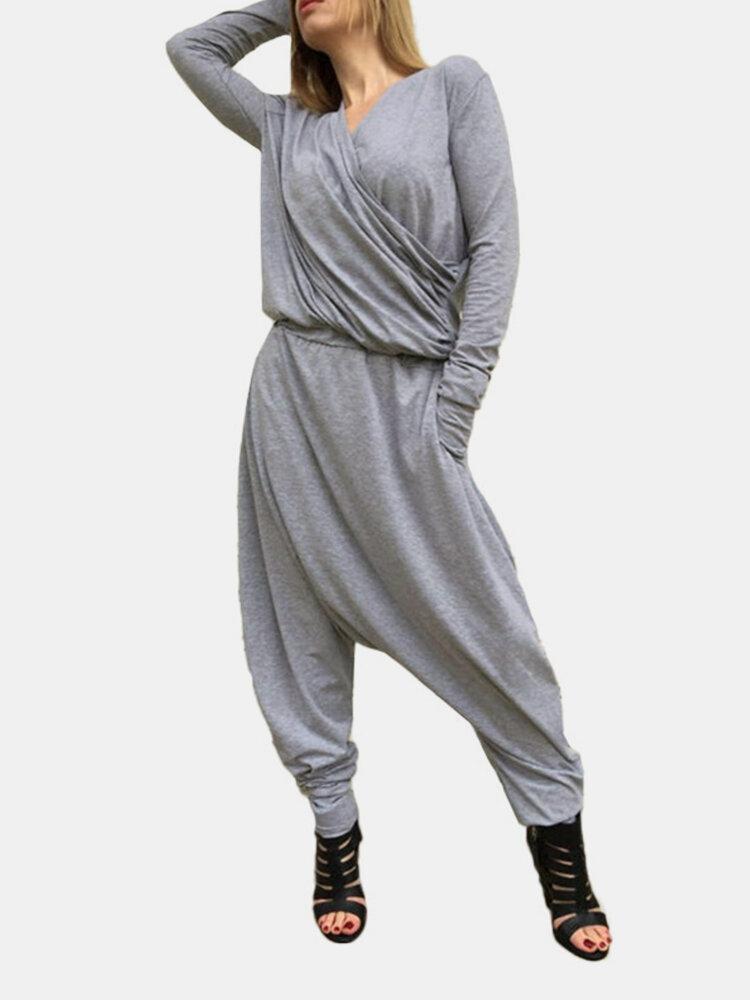 Casual V-neck Solid Color Pockets Long Sleeve Harem Jumpsuit
