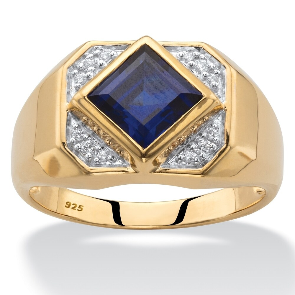 Men's Gold over Sterling Silver Sapphire and Diamond Accent Ring (10 - Gemstone)