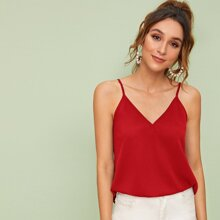Solid Double V Neck Cami Top