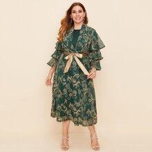 Plus Solid Tank Dress & Baroque Belted Kimono