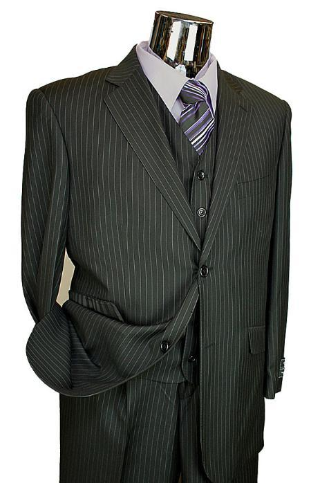 Mens Black Pinstripe 3 Piece 2 Button Suit with Single Pleated Pants