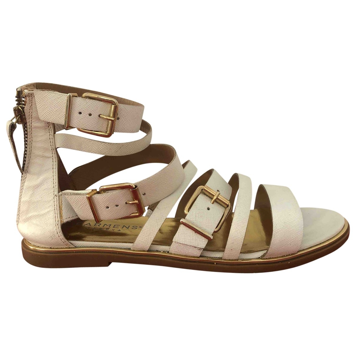 Non Signé / Unsigned \N White Leather Sandals for Women 37 EU