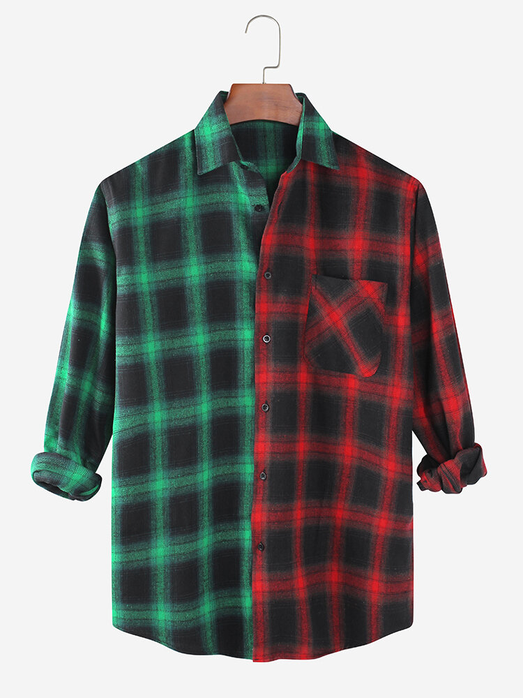 Mens Check Contrast Color Patchwork Casual Long Sleeve Shirts With Pocket