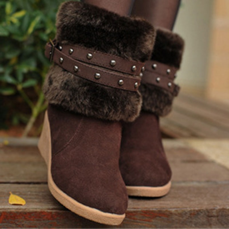 Ericdress Wedge Heel Patchwork Round Toe Plush Boots