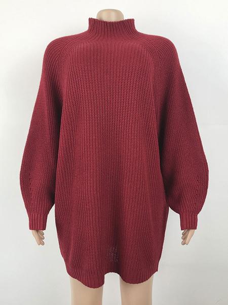 Milanoo Women Knitted Dresses Pink High Collar Long Sleeve Sweater Dress