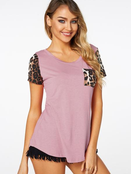 Yoins Pink Leopard Round Neck Chest Pocket T-shirt