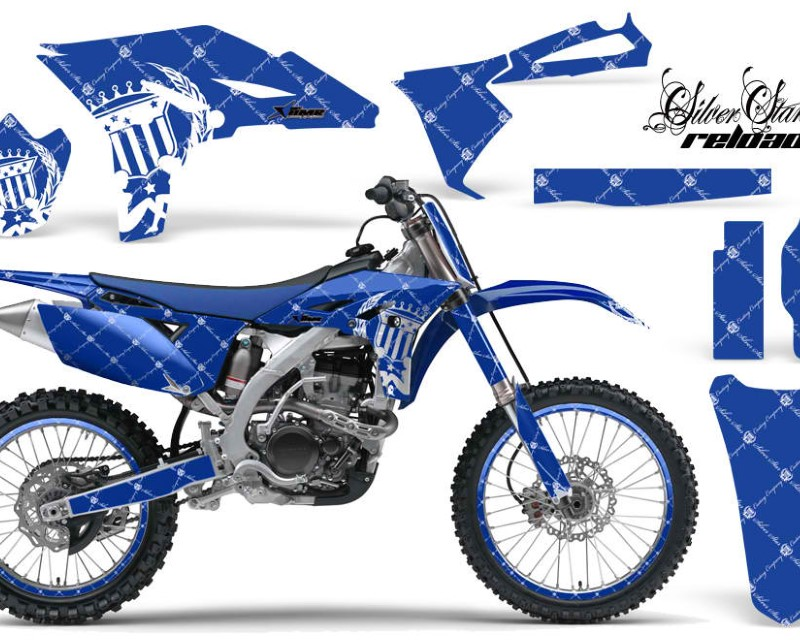 AMR Racing Graphics MX-NP-YAM-YZ250F-10-13-SSR W U Kit Decal Sticker Wrap + # Plates For Yamaha YZ250F 2010-2013 RELOADED WHITE BLUE