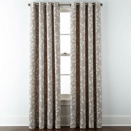 Liz Claiborne Quinn Leaf Room-Darkening Grommet Top Single Curtain Panel, One Size , Beige