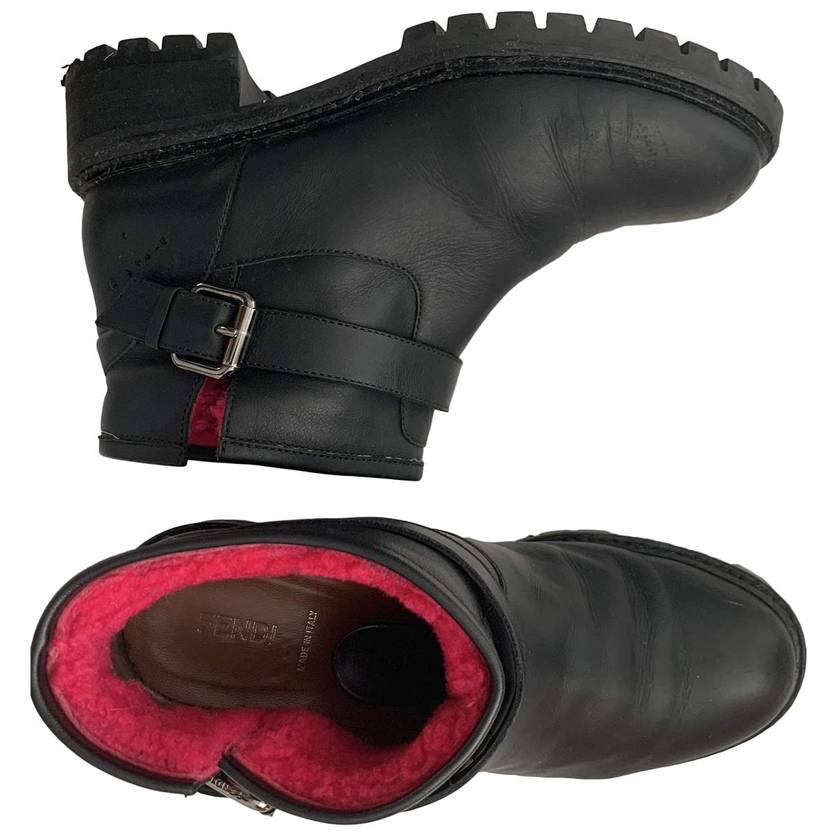 Fendi \N Black Leather Ankle boots for Women 38 EU