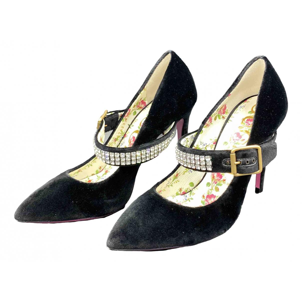 Gucci Sylvie Black Velvet Heels for Women 38 EU