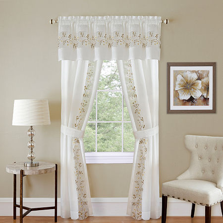 Fairfield Light-Filtering Rod-Pocket Set of 2 Curtain Panel, One Size , White