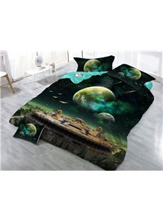 Space Station and Earth Green Galaxy Printed 3D 4-Piece Bedding Sets/Duvet Covers