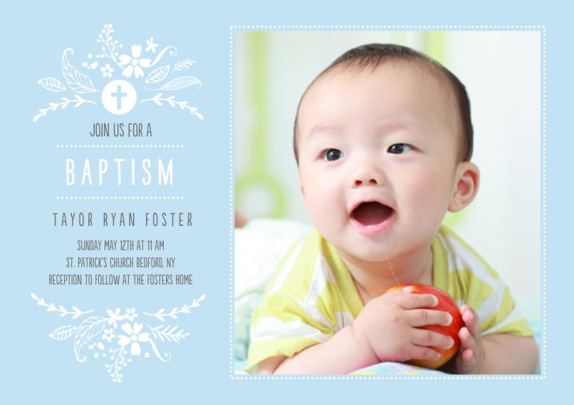 Baptism Invitations Flat Matte Photo Paper Cards with Envelopes, 5x7, Card & Stationery -Baptism Foliage Arch