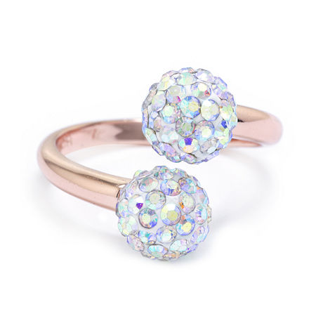 Sparkle Allure Crystal 14k Rose Gold Over Brass Bypass Cocktail Ring, 8 , No Color Family