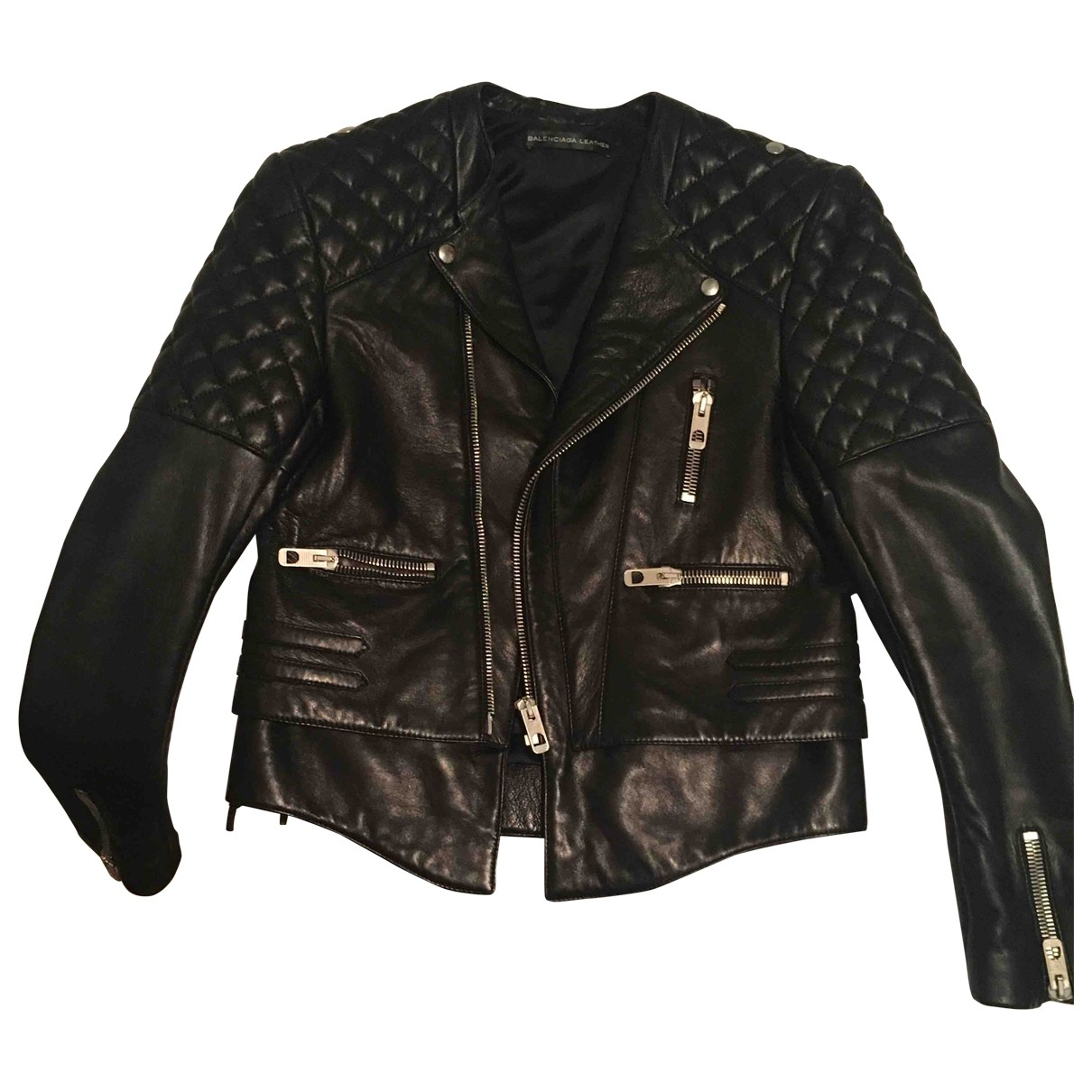 Balenciaga \N Black Leather jacket for Women 42 IT