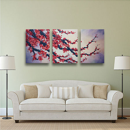 Brushstone Red Cherry Blossom 3-pc. Gallery Wrapped Canvas Wall Art, One Size , Red