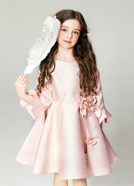 Milanoo Blush Pink Flower Girl Dress Bell Sleeve Flowers Crewneck Flared Zipper Pageant Dress For Kids
