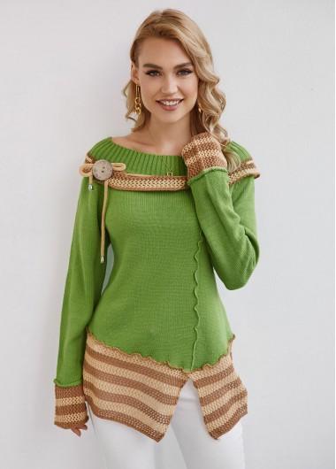 Trendy Long Sleeve Striped Slit Hem Button Sweater - XL