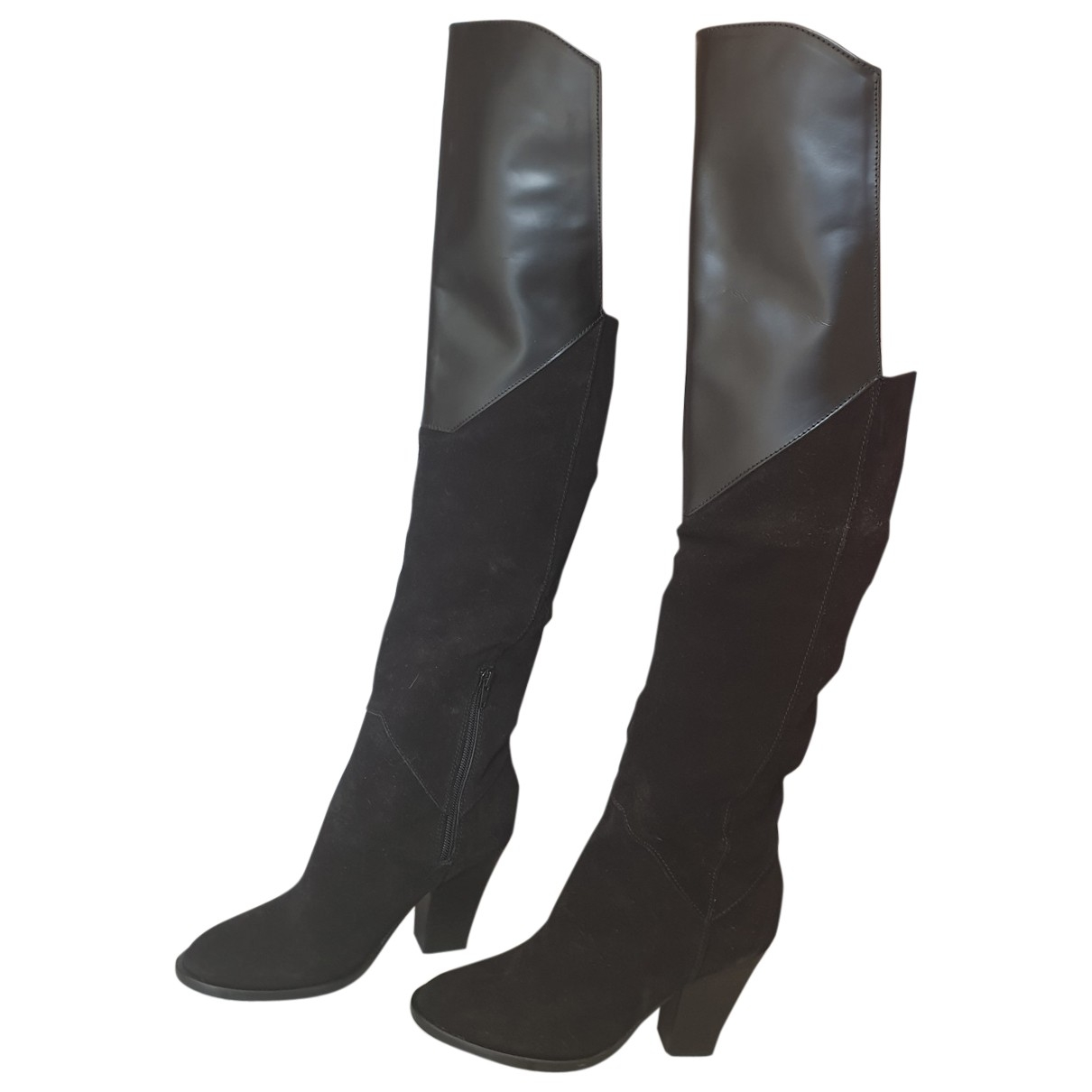 Maje \N Black Leather Boots for Women 37 EU
