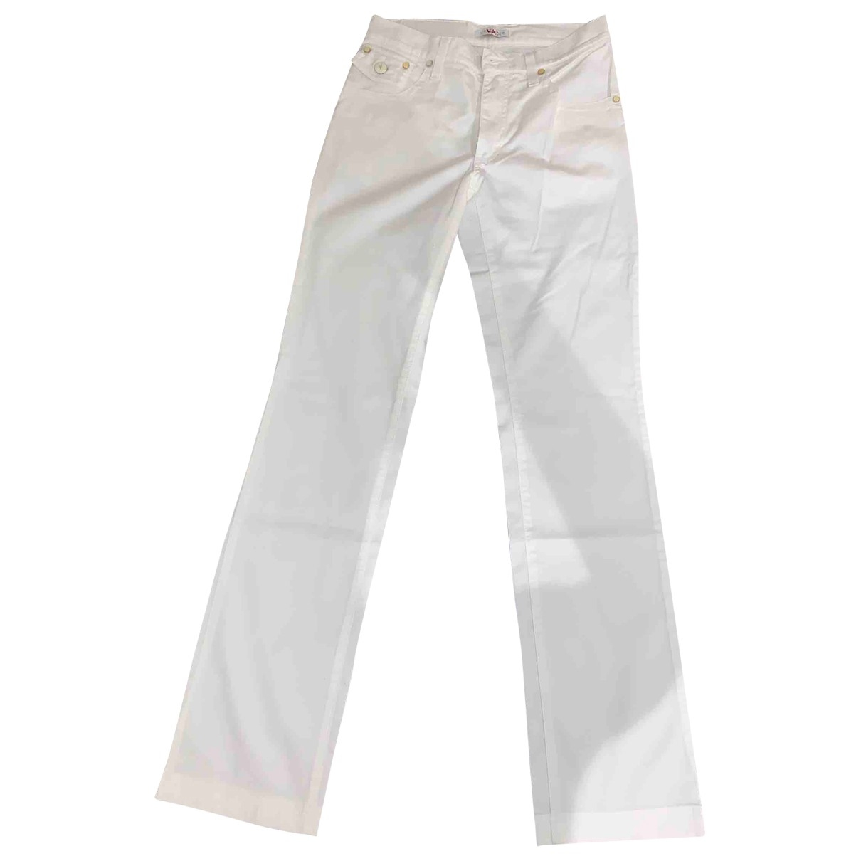 Versace Jeans \N White Cotton Trousers for Women 34 FR