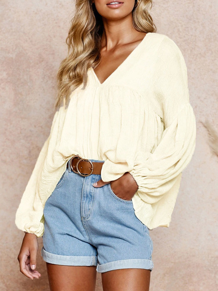Milanoo Blouse For Women Apricot Polyester V-Neck Puffed Sleeves Casual Long Sleeves Tops