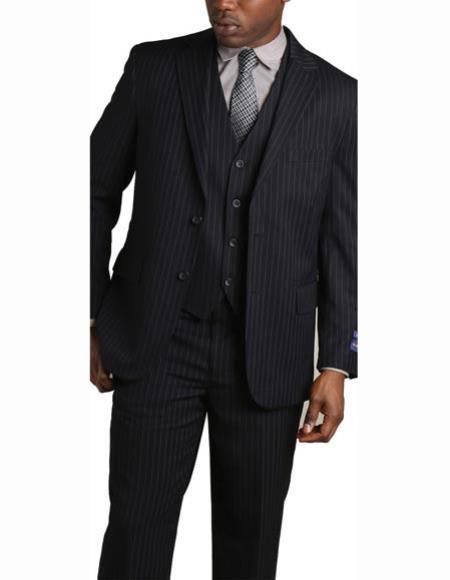 Mens 2 Button Vested 3 Piece Suit Navy