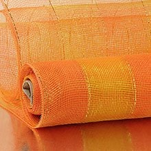 10X10 Yards Orange/Gold 2-Colored Wide Strp Deco Mesh Metallic - Wraps Width: 10 Length: 10 yd by Paper Mart