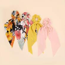 4pcs Floral Pattern Scrunchie Scarf