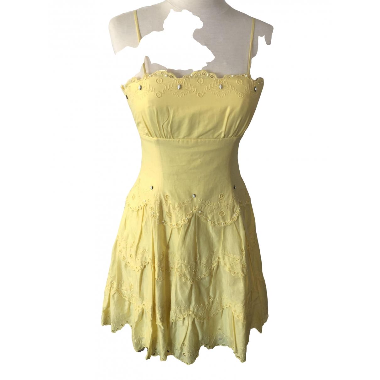 Bcbg Max Azria \N Yellow Cotton dress for Women 4 0-5
