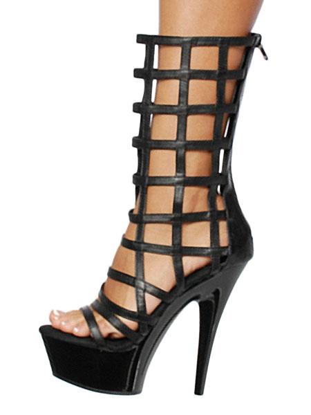 Milanoo Black Sexy Boots Women Platform Open Toe Cut Out Zip Up High Heel Sandal Boots