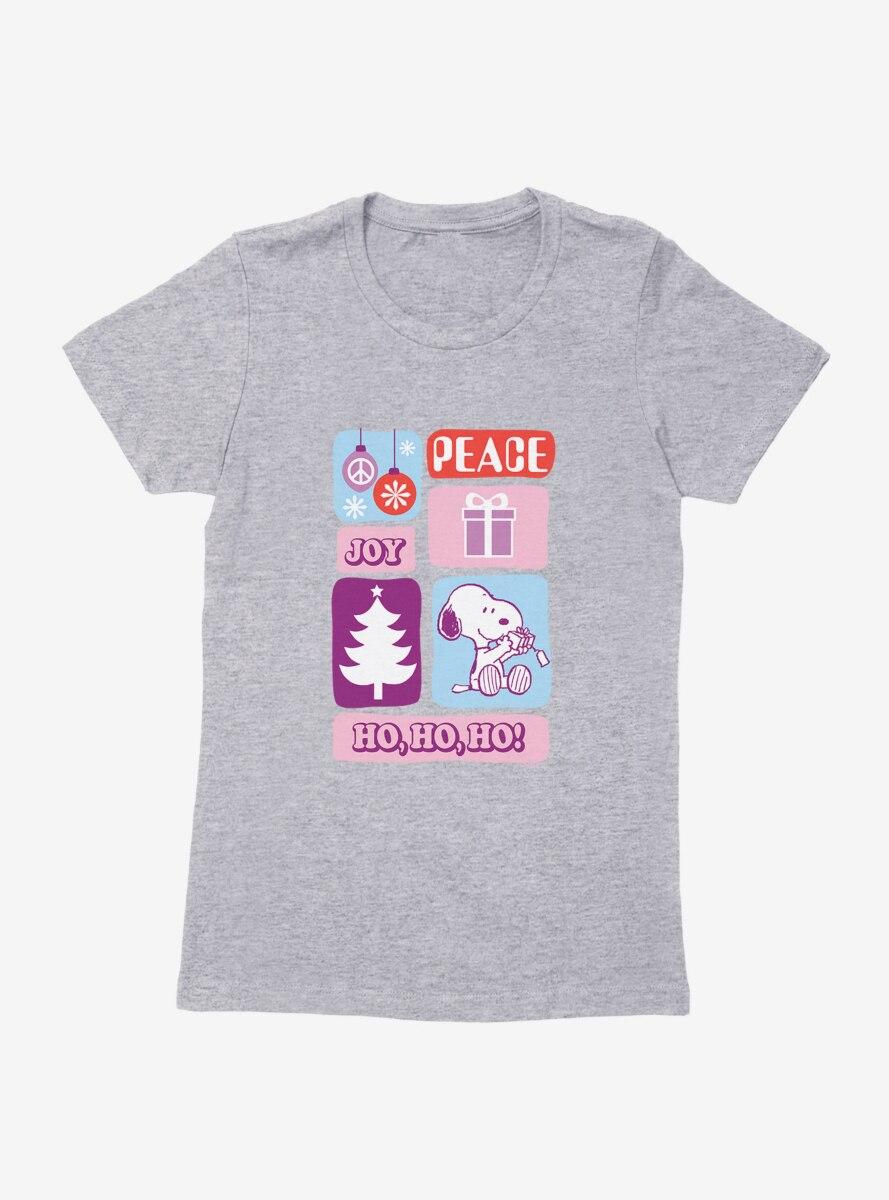 Peanuts Holiday Joy Snoopy Presents Womens T-Shirt