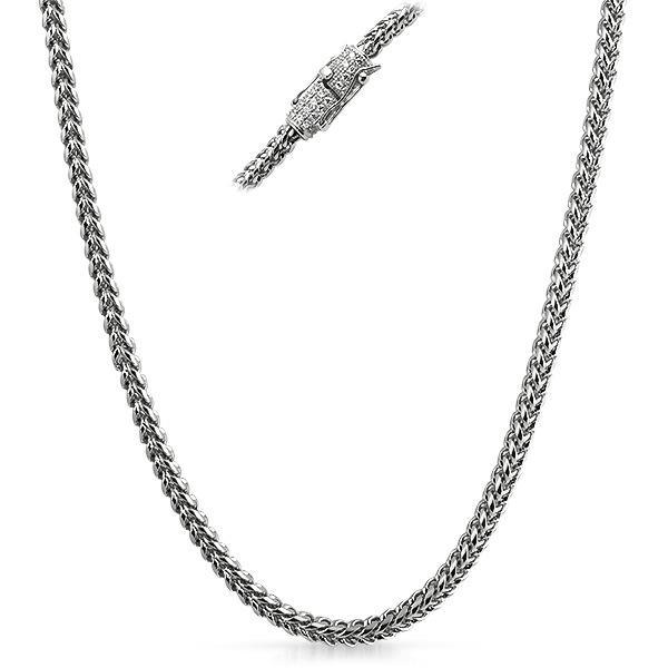 CZ Diamond Clasp Stainless Steel Franco Chain 4MM (24