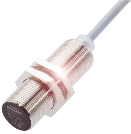BALLUFF M18 x 1 Inductive Sensor - Barrel, PNP-NO Output, 8 mm Detection, IP68, Cable Terminal