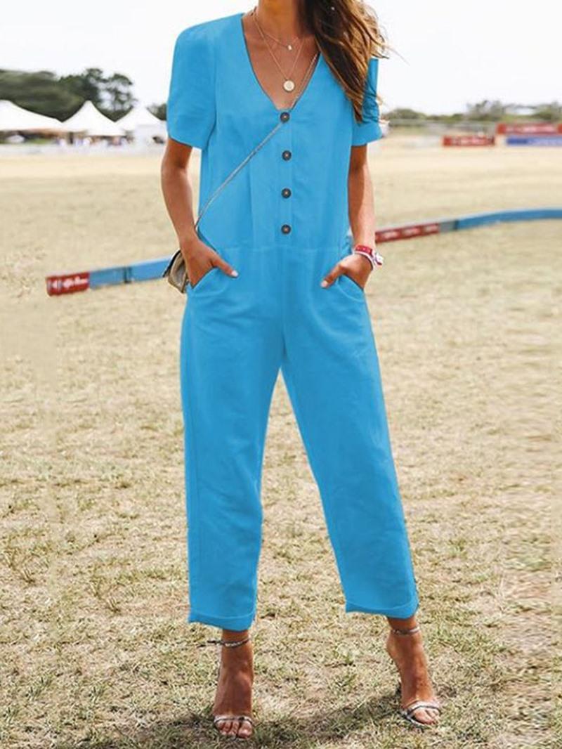 Ericdress Ankle Length Plain Button Straight Loose Jumpsuit
