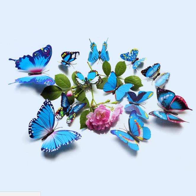 12Pcs 3D Blue Colorful Butterfly Wall Sticker Chrismas Home Decor Art Applique