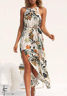 Floral Slit Maxi Dress without Necklace