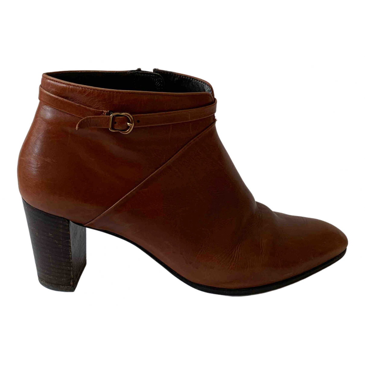 Non Signé / Unsigned \N Brown Leather Ankle boots for Women 39.5 EU