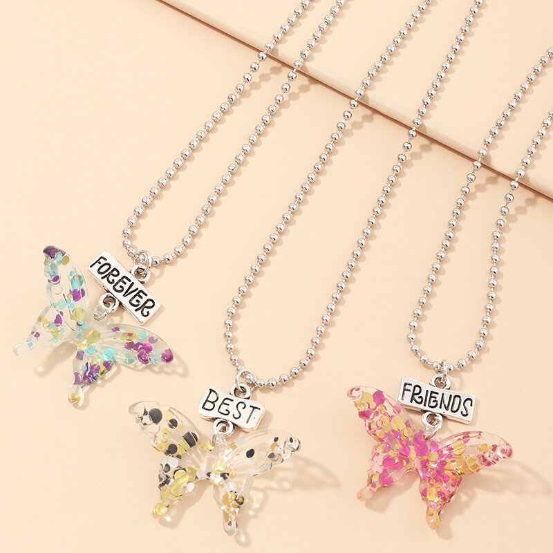3PCS Transparent Stereoscopic Sequin Butterfly Necklace Round Bead Chain Butterfly Pendant Necklace