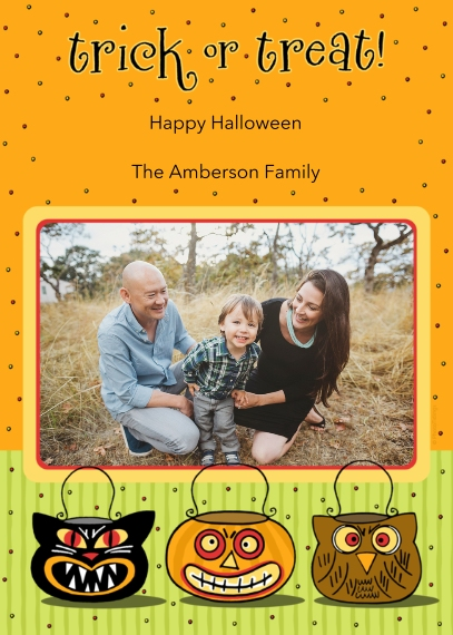 Halloween Photo Cards 5x7 Cards, Premium Cardstock 120lb with Elegant Corners, Card & Stationery -trick or treat!