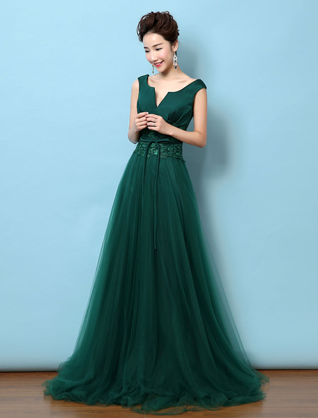 Milanoo Tulle Evening Dress Backless Mother's Dress Dark Green Notched Neckline Lace Applique Bow Wedding Guest Dresses With Train wedding guest dress