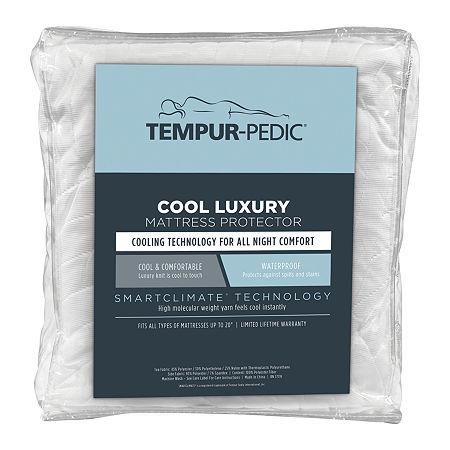 Tempur-Pedic Cool Luxury Waterproof Mattress Protector, One Size , White