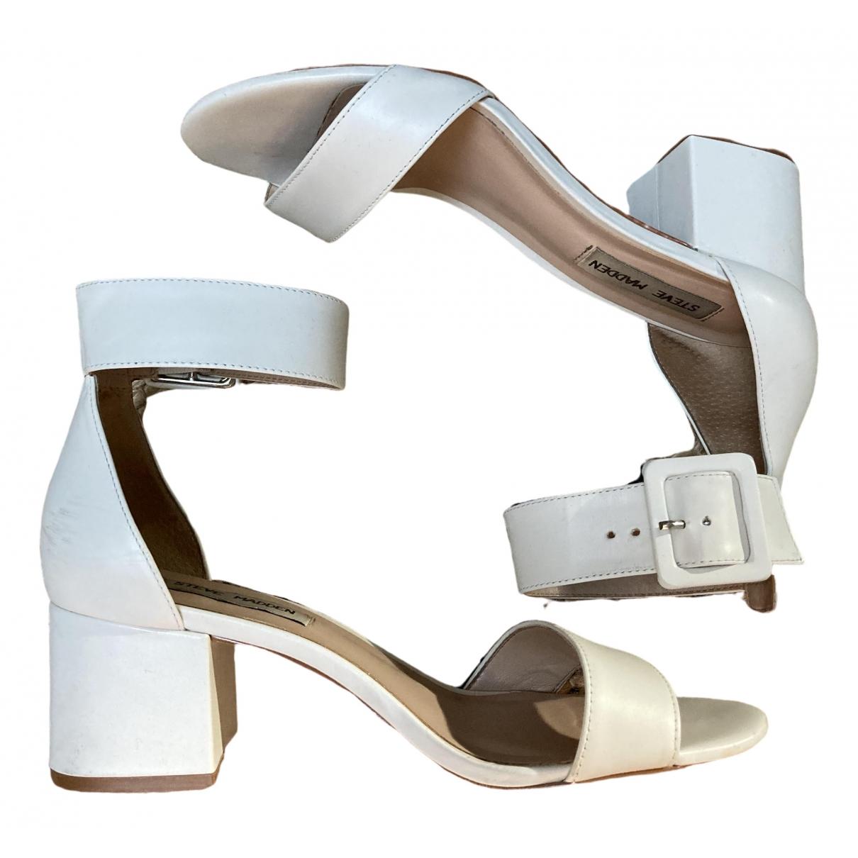 Steve Madden \N White Leather Sandals for Women 37.5 EU