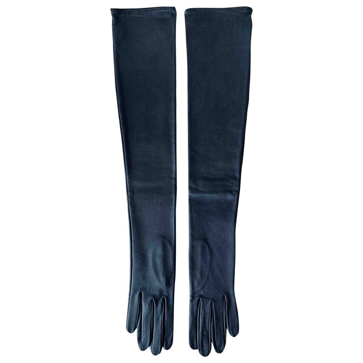 Non Signé / Unsigned \N Blue Leather Gloves for Women 7 Inches