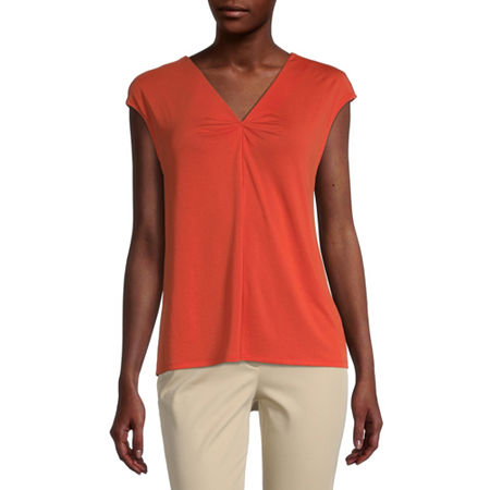 Worthington Womens V Neck Short Sleeve Blouse, Small , Orange