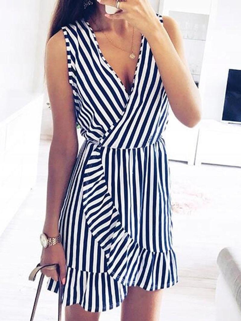 Ericdress V-Neck Sleeveless Stringy Selvedge Striped Pullover Dress