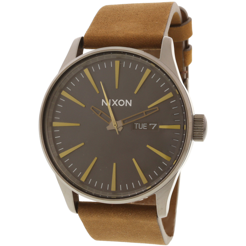 Nixon Men's Sentry Leather A1052984 Grey Japanese Quartz Dress Watch