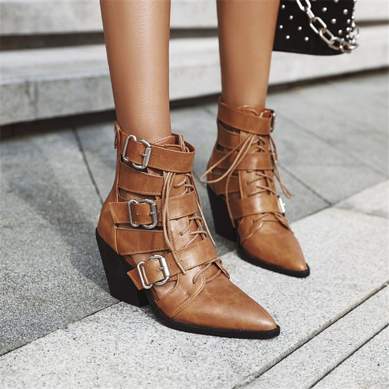 Ericdress Plain Pointed Toe Lace-Up Front PU Boots