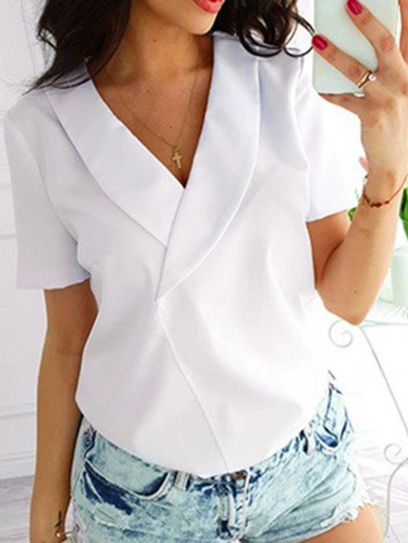 Ericdress Plain Regular Standard Short Sleeve Loose Blouse