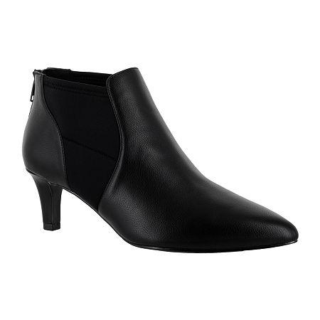 Easy Street Womens Saint Zip Pointed Toe Booties, 6 1/2 Wide, Black